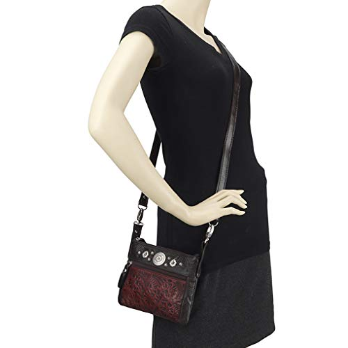 Leather West Small Bundle Cross Holder Bag Purse Body Handbag Trail Crimson Rider Belt American 6gq5SHS