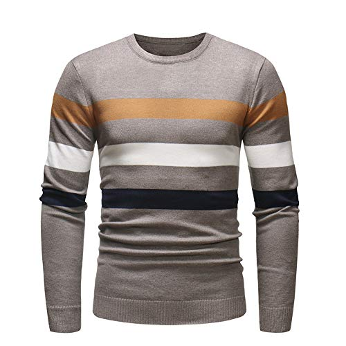 Dacawin Fashion Handsome Men's Long Sleeve Stripe Slim Sweater Pullover Jumper Knitwear Blouse ()