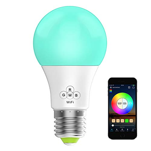 Konxie LED WiFi Smart Lights Bulb, Compatible with Alexa and Google Assistant and IFTTT,e27 a19 RGBW Edison Bulb, No Hub Required, Music Mode,Sunrise, Sunset Mode ()