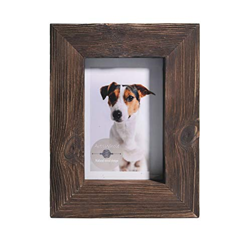 4x6 Walnut - Brown Rustic Picture Frame - PREMIUM QUALITY - Reclaimed Wooden Photo Frame - Wall Mounting or Tabletop Display - Solid & Thick Natural Pine Tree (1.6
