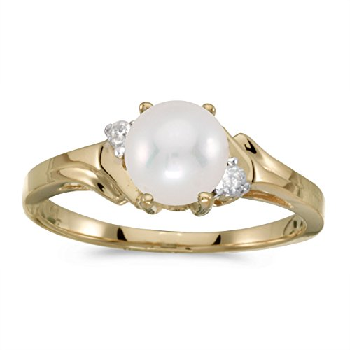 0.04 Carat (ctw) 10k Yellow Gold Round Freshwater-Cultured Pearl and Diamond Bypass Swirl Engagement Anniversary Fashion Ring (6 MM) - Size 7.5 (Ct 0.04 Diamond Fashion)