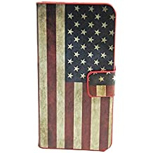 TCD for Apple iPhone 5 5S American Flag USA PU Leather Case Wallet with Credit Card Slots includes [FREE SCREEN PROTECTOR AND STYLUS PEN] Verizon, AT&T, T-Mobile