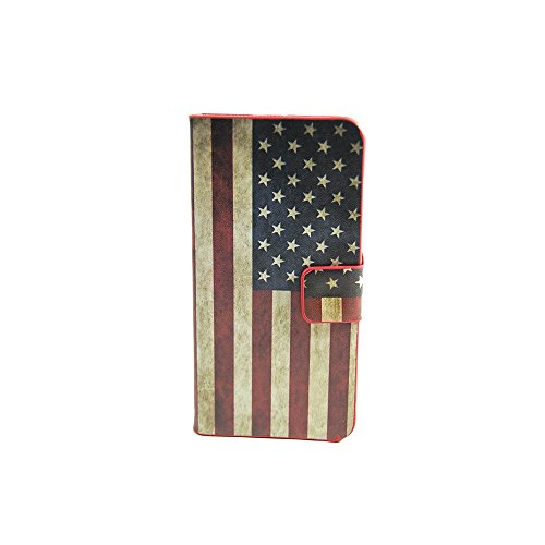 TCD for Apple iPhone 6 6S PLUS American Flag USA PU Leather Case Wallet with Credit Card Slots includes [FREE SCREEN PROTECTOR AND STYLUS PEN] Verizon, AT&T, T-Mobile etc (T Mobile I Phone 6 Case)