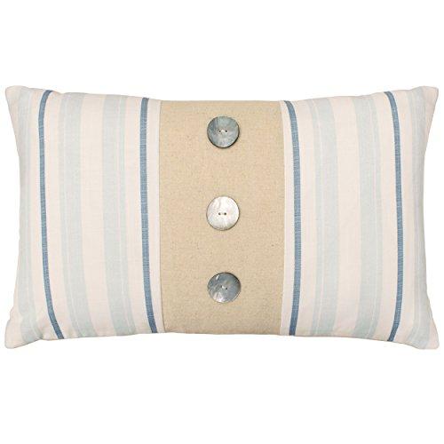 Laura Ashley Hadley Decorative Pillow, 14 x 24, White/Blue/N