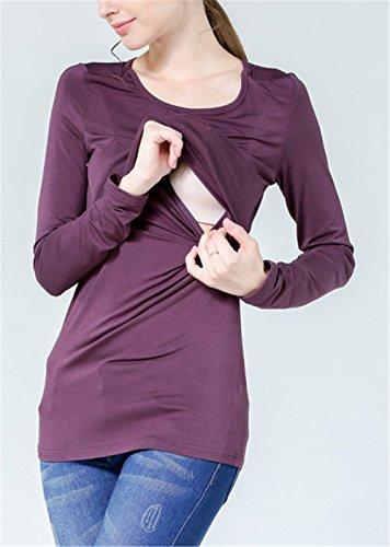 L'Allattamento Premaman Top Maniche Gravidanza Tkiemo Maglietta Allattamento Collo Lunghe Comoda Donna Unita Tinta Purple1 Rotondo Shirt Bluse T Uq5px40