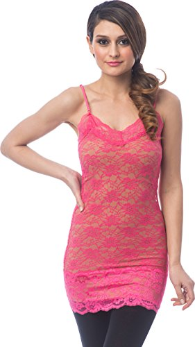 Sheer Extra Long Lace Cami w/ Adjustable Straps, M, Fuchsia