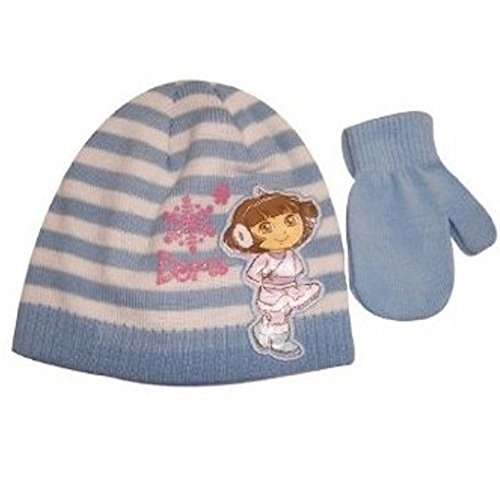 Nick Jr. Dora the Explorer Girl's Blue Beanie Knit Hat and Mitten Set- Toddler