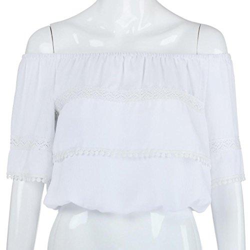 paule Dnud Dbardeur Manches Chemisier Solide Couture Blanc Tops Femme Angelof Mousseline Mode Dentelle Courtes qpfwtxapE