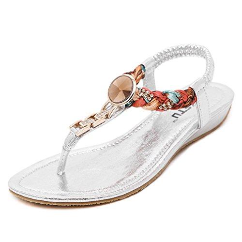 Sandali Bohémien Da Donna Con Cinturino Piatto Comfort Per Donne Scivolano Su Scarpe Da Spiaggia Argento