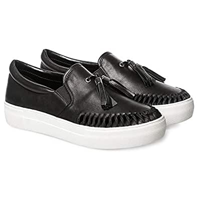 JSLIDES Slip On Shoes for Women, Black