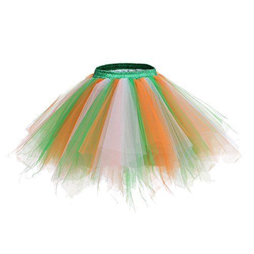 URVIP Women's Vintage 1950s Tutu Multicolor Petticoat Ballet Bubble Dance Skirt Green Orange Ivory L/XL -