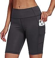 """Jimilaka Women's 8"""" /5"""" /2"""" High Waist Biker Shorts with Pockets Yoga Workout Running Bike"""