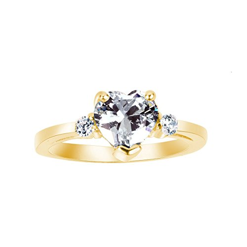 (Clear Heart Shaped Cubic Zirconia Heart Ring Yellow Gold-Tone Plated Sterling Silver Size 5)