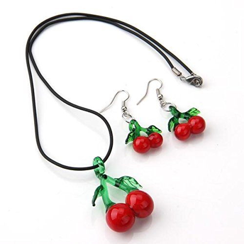 Ecloud ShopUS® Cherries Lampwork Glass Pendant Necklace Earrings Set