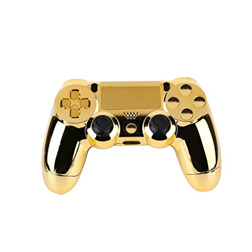 Price comparison product image Exiao Full Housing Shell Case Skin Cover Button Set with Full Buttons Mod Kit Replacement for Playstation 4 PS4 Controller Gold Sliver