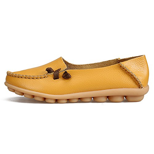 La Mocassins Plates La En Du Chaussures Pour Des Emmancher Femmes Occasionnels Conduite Shopping Jaune Véritable Souple Semelle Mode Cuir À rxYg4vr