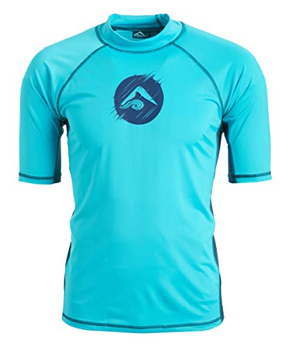 Kanu Surf Men's Mercury UPF 50+ Short Sleeve Sun Protective Rashguard Swim Shirt, Dolphin Aqua, Medium (Best Mens Swim Shirts)