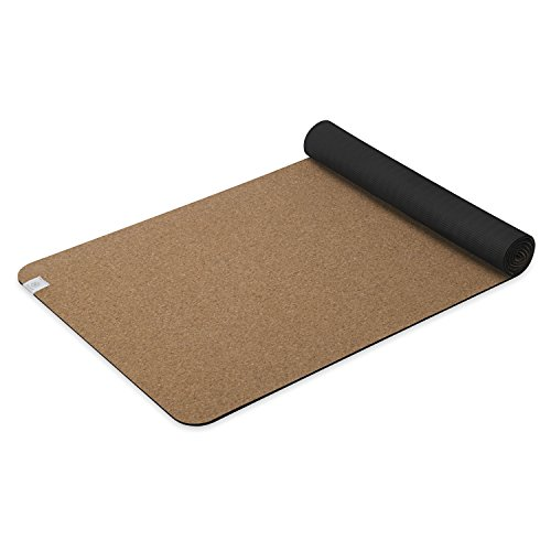 Gaiam Yoga Mat Cork with Non-Toxic Rubber Backing, Natural S