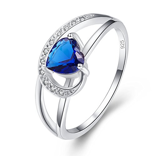 (Emsione Created Sapphire Quartz 925 Sterling Silver Plated Heart Cut Plated Ring for Women)