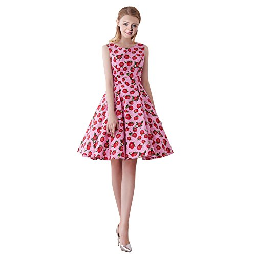 FiftiesChic Sleeveless 100% Cotton Polka Dot Floral 50s Vintage Rockabilly Swing Dress (Large, Pink Dotted Strawberries) ()