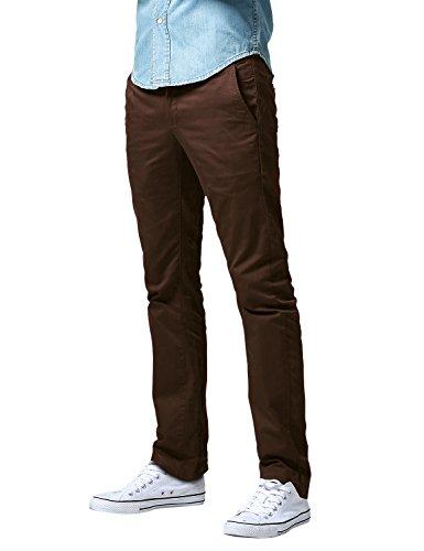 Dark Brown Khaki (Match Men's Slim Fit Straight Leg Casual Pants (34, 8036 Dark brown))