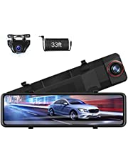 【Upgraded 11''】 Mirror Dash Cam Front and Rear Dual 1080P Night Vision Backup Camera FHD Full Touch Screen Rear View Mirror Camera for Cars Sony Sensor with Loop Recording, G-Sensor, Parking Monitor