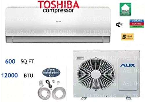 Aux- Air Conditioner Ductless Wall Mount Mini Split System Air Conditioner & Heat Pump Full Set, 12000 BTU 220V (Mini Split Ductless Heat Pump)