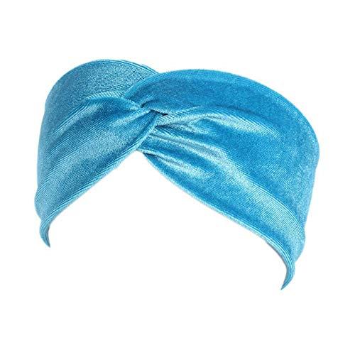 MOPOLIS Muslim Ladies Elastic Twist Turban Hat Hairband Wide Velvet Headband Head Wrap | Colors - Lake blue
