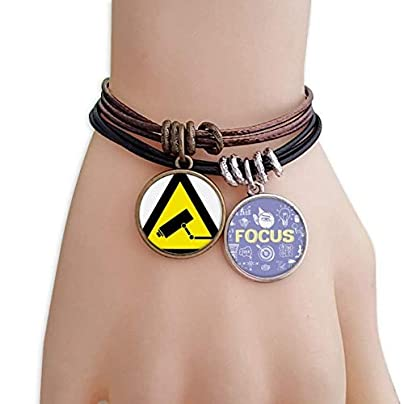SeeParts Warning Symbol Yellow Black Monitor Camera Triangle Bracelet Rope Wristband Force Handcrafted Jewelry Estimated Price £9.99 -