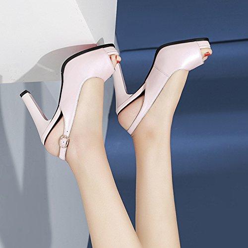 Hæle Ru Sandaler Mode Fisk Mode Pink Vandtæt Kvinder Dkfjki Sko Party Høje Vilde Læder Platform Munden P5dHAnXq