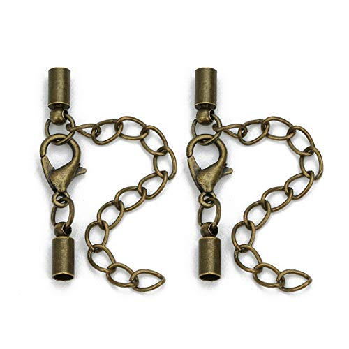 - Forise 20pcs Leather Cord End Clasps Connectors with Lobster Clasp end caps Extender Chain for DIY Jewelry MakingNecklaces Bracelets (Antique Bronze, 3mm)