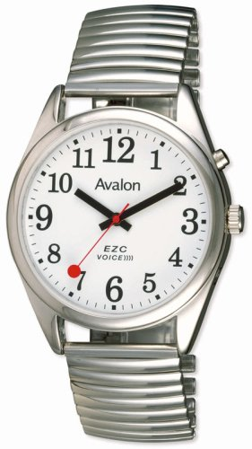 Avalon EZC Men's XL Silver-Tone Low Vision 1- Button Flex Band Talking Watch # 7425-1B