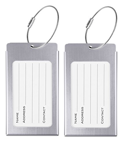 Luggage Tags, LLFSD Metal Suitcase Labels Travel ID Identifier Luggage Tag (Silver...