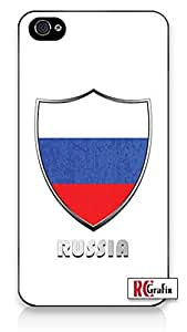 Russia Russian National Flag Badge Direct UV Printed iPhone 5C Quality TPU SOFT RUBBER Snap On Case for iPhone 5C - AT&T Sprint Verizon - White Case
