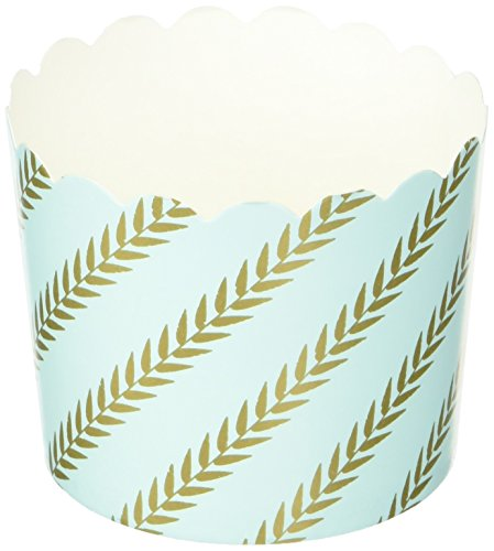 Baked Muffins - Simply Baked CLG-139 Paper Cup Disposable and Oven-Safe Baking, Large, Mint Gold Leaf