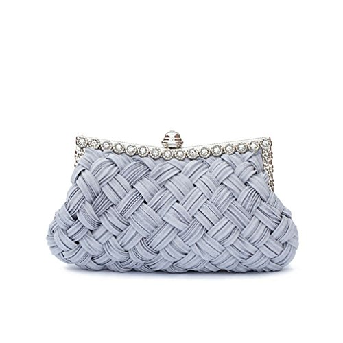Clutch Diamond Clutch Women's Bag Knitted Day Tote Full Chains Bride Dress ULKpiaoliang Party Bag grey Evening wqIx05Sn