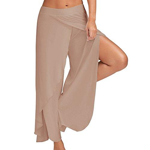 Pants Pants Leg LITTHING Light Slit Brown Wide High Flowy Palazzo Layered Loose Women qwxYwzv4