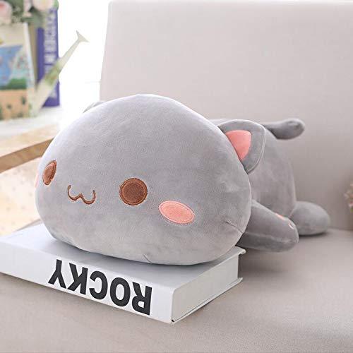 (UBILILI Cat Plush Toy - Lying Cat Plush Toys Stuffed Cute Cat Doll Lovely Animal Pillow Soft Cartoon Cushion Kid Gift - 20 Inch Grey Dot Eyes - Siamese Pink)