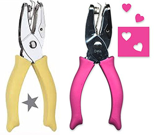Fiskars 1/4 Inch Hand Punch, Heart and Star Combo Bundle ()