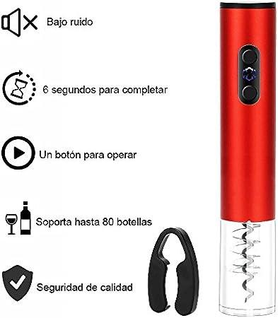 Sacacorchos Electrico Abrelatas Electrico Profesional Abridor de Botellas de Vino con Cortador de Hojas Color Rojo