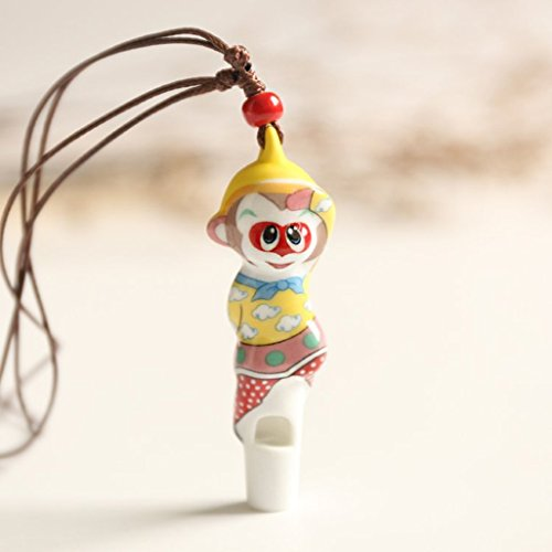 Jaswass Ceramic Whistle Cute Monkey Design Porcelain Necklace for Kids Pack of 2