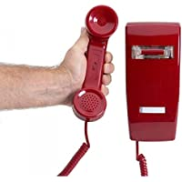 Traditional No Dial Wall 2554 Telephone Old Style Phone Red