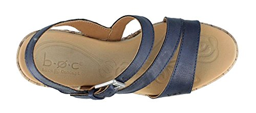 Donna Boc, Schirra Tacco Alto Sandalo Con Zeppa Blu Oceano