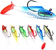 Fishing Lures for Bass, Shad Soft Swimbaits, Pre-Rigged with Vmc Sinking Hook, Plastic Bait for Saltwater &