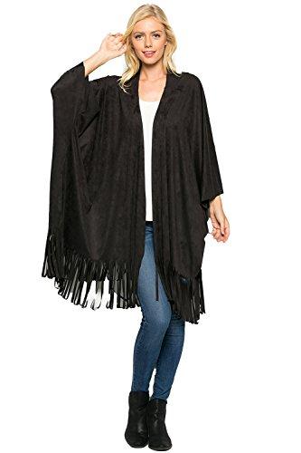 Women's Suede Poncho Fringe Jackets Black Large T1045 - Suede Fringe Jacket
