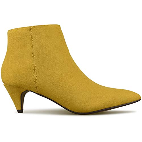 Imsu Bootie Ankle Thin Premier Walking Comfortable Zipper Standard Heel– Mustard Comfortable Closed Women's Booties Toe Low Heel wXqYaxqf8