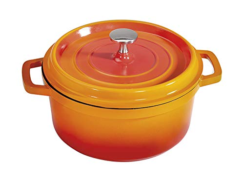 G.E.T. Enterprises Orange 5 Quart Round Dutch Oven, Cast Aluminum with Lid and Handles Heiss CA-012-O/BK
