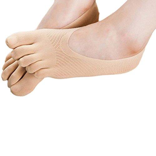 Sagton Invisibility Solid Color Socks Five Finger SocksFive Toe Slippers Socks Khaki H1eTiO