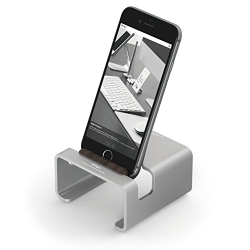 elago M3 Stand [Silver/Authentic Walnut] - [Premium Aluminum][Hybrid Design][Optimal Angle] - for All iPhones, iPad Mini, Galaxy and Other Smartphones