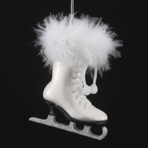 Noble Gems Kurt Adler 4-1/4-Inch Glass White Ice Skate Ornament